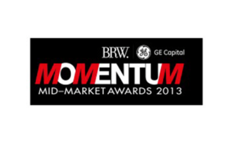 This picture is of the logo of the BRW and GE Capital Momentum Mid-Market Awards for 2013.