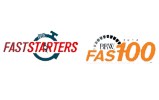 This picture is of two logos the first on the left is Faststarters and the second on the right is Fast100.