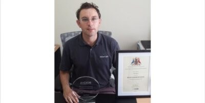 This is a photograph of Niall Walsh an employee at Monford Group winning a High Commendation from CIOB