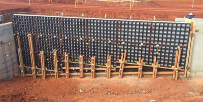 This is a photograph of part of the works being conducted by Monford Group, of a wall being built from the ground up.