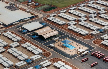 This is a photograph taken at Wheatstone Liquefied Natural Gas Plant showing the extensive facilities available to the workers including a swimming pool.